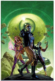 Animal Man, Starfire & Adam Strange - J.G. Jones