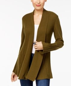 Style & Co Petite Open-Front Cardigan, Created for Macy's - Green P/XS