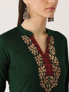 Buy Libas Women Black & Red Embroidered Pathani Kurta - Kurtas for Women 7320067 Salwar Suit Neck Designs, Silk Kurti Designs, Kurta Neck Design, Kurti Embroidery Design, Embroidery Neck Designs, Embroidered Kurti, Embroidered Clothes, Chaniya Choli Designer, Stylish Kurtis Design