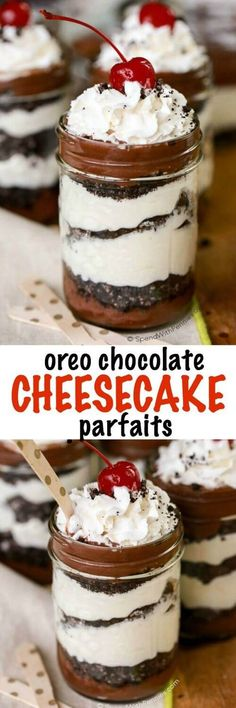 Cheesecake Parfaits are the perfect no bake dessert with layers of chocolate, cheesecake and delicious Oreo cookie crumbs! These are best when made ahead and easy to transport in a mason jar making them the perfect take-along potluck dessert. Potluck Desserts, Mini Desserts, Mason Jar Desserts, Mason Jar Meals, Meals In A Jar, Party Desserts, No Bake Desserts, Just Desserts, Dessert Recipes
