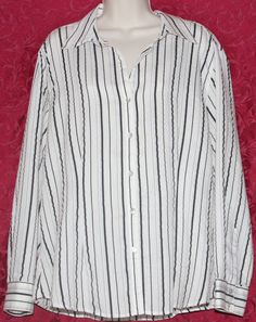 Chicos 3 XL 16 18 Black Silver Striped Shirt Blouse Top MOP Buttons #Chicos #Blouse #Casual #Fashion #Christmas #Gift #Present #Stripe #Shirt #Blouse
