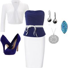 Pencil skirt and bustier top! love this!, created by paulette-lanni on Polyvore