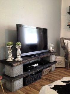 Diy tv stand ideas diy and crafts необычная мебель, мебель, Diy Furniture Tv Stand, Diy Furniture Projects, Home Projects, Brick Shelves, Diy Tv Stand, Concrete Blocks, Diy Concrete, Diy Home Decor, Room Decor