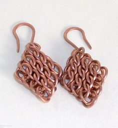 #Chainmaille #Copper #Earrings HalfPersian Sheet by #StygianChains, $15.00