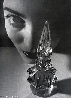 Bettina Graziani in an advert for Jacques Fath's Canasta, the perfume made up of fifty-two different fragrances, L'Album du Figaro, April-May 1952.