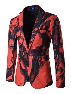 Men Blazer Casual Two Tone Turndown Collar Slim Fit Cotton Print Blazer For  Men 571f8a795bb