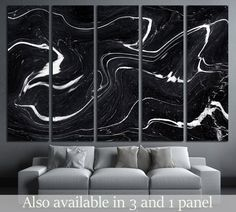 Black Marble ink texture acrylic painted waves texture background №2577 Framed Canvas Print