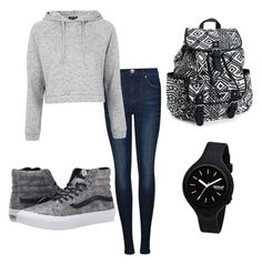 Monday Casual School Outfit by claire-atkerson on Polyvore featuring polyvore, fashion, style, Topshop, Dr. Denim, Vans, Aéropostale and Rip Curl