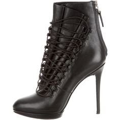 Pre-owned B Brian Atwood Leather Lace-Up Ankle Boots ($130) ❤ liked on Polyvore featuring shoes, boots, ankle booties, black, black booties, leather boots, black leather bootie, short leather boots and black ankle boots