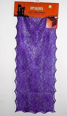 Lace Halloween Spiderweb Table Runner 14 in x 71.6 in- Purple