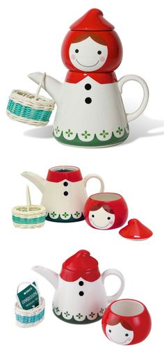Little Red Riding Hood // tea for one set with teapot, teacup and basket! #product_design