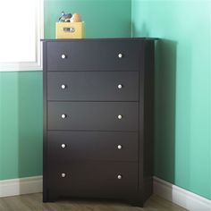 Eco-Friendly 5-Drawer Bedroom Chest in Black Wood Finish and Nickle Finish Knobs