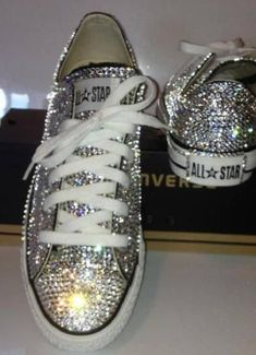 Swarovski Blinged Converse - Can I have a red pair too? Bling Converse, Bling Shoes, Glitter Shoes, Converse Sneakers, Silver Converse, Rhinestone Converse, Glitter Make Up, Zapatos Shoes, Prom Heels