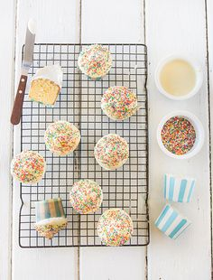 White Chocolate Hi-Hat Cupcakes with Sprinkles