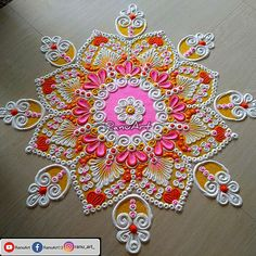 Indian Rangoli Designs, Rangoli Designs Latest, Simple Rangoli Designs Images, Rangoli Designs Flower, Rangoli Border Designs, Colorful Rangoli Designs, Flower Rangoli, Rangoli Colours, Rangoli Patterns