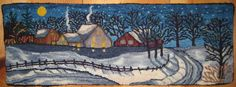 Fish Eye Rugs:  {love this winter scene; very much like a Mary Azarian-Vermont style block print painting she does}