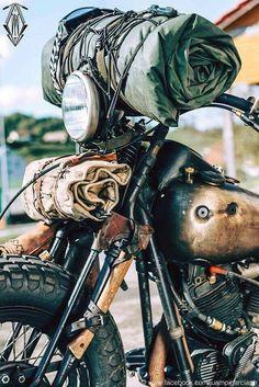 Motorcycle camping adventure travel Ideas for 2019 Motorcycle Camping, Bobber Motorcycle, Motorcycle Style, Biker Style, Camping Gear, Camping Style, Harley Davidson, Moto Cafe, Custom Bikes