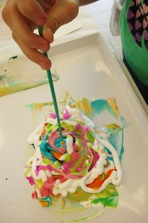 Shaving Cream Paper Marbling, A Clean Craft