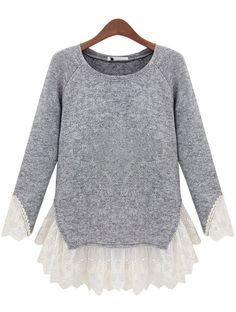 New Long Sleeve Knit Sweater/Top with Lace Brand new grey long sleeve sweater or top with lace contrast. So romantic chic! It is fitted.
