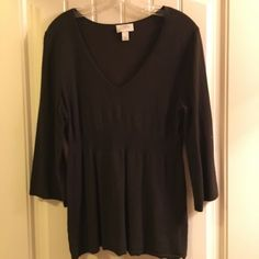 LOFT-Medium-Black-3-4-Sleeves-Tunic-Sweater