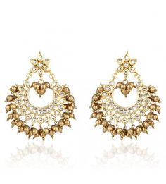 Golden Beads And White Kundan Jhumkas
