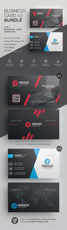 Business Card Template PSD Bundle #businesscard #design
