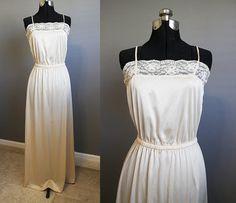 Cream Maxi Dress Vintage Wedding Satin Lace by InTheHammockVintage, $20.00