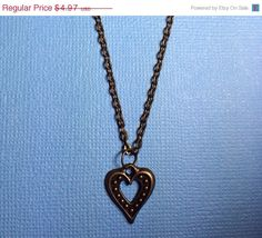 ON SALE Heart Brass 18 inch Necklace Adjustable by RoseyJohnny, $4.72