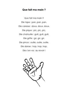 """Que fait ma main"" printable comptine about the different actions that a hand can do"