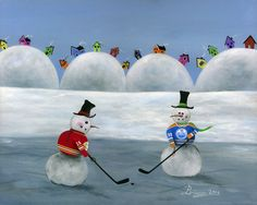 "Hockey art painting - 11x14 Calgary vs Edmonton Snowman NHL Hockey OOAK Folk Art Painting by BriannasArtwork ""The Battle of Alberta"" Calgary Flames vs Edmonton Oilers snowman NHL hockey. ""Theo"" Theoren Fleury vs ""The Great One"" Wayne Gretzky NHL Painting ""Hilly Hockey Puck""."