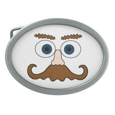 Mr Moustache Oval Belt Buckles