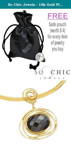 So Chic Jewels - 18k Gold Plated Facet Black Cubic Zirconia Spirals Pendant (Sold alone: necklace not included). 18k (750/000) Gold Plated (Hallmark), Cubic Zirconia, Dimensions: 45 x 35 mm, Nickel free.