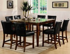 Tall dining room set with laminate stone table feat leather chairs bar height dining table set dining room colorful height dining table contains on counter workwithnaturefo
