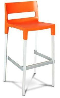 Moreton Stackable Plastic and Aluminium Outdoor Bar Stool cm in Orange AU