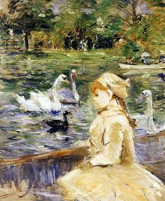 Young Girl Boating: 1884 by Berthe Morisot (Private Collection) - Impressionism