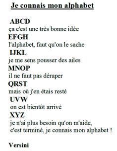 Illustration Je connais mon alphabet de Versini French Songs, French Phrases, Basic French Words, Learning People, Learn French Fast, Transition Songs, French Alphabet, French Flashcards, French For Beginners