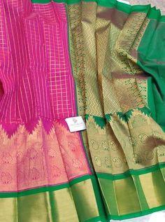 Pink Colour Zari checks cotton silk saree with Contrast Green Zari Pallu & Blouse Cotton Silk, Silk Sarees, Pink Color, Blouse, Blouse Band, Blouses, Silk, Sweatshirt, Top