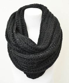 Black Chunky Knit Sequin Infinity Scarf