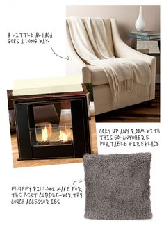 love the portable fireplace