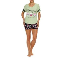 Plus Size Secret Treasures Women's and Women's Plus Screened Short Sleeve V-Neck Sleep Tee and Boxer Short Pajama 2 Piece Set, Size: Large, Green