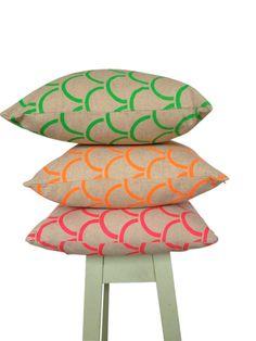 Cushion cover Arches design. Fluro green design on beige sand Linen/Cotton 42cm x 42cm. $48.00, via Etsy.