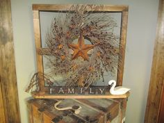 Image detail for -Country Primitive Craft 4 Pane Window with Wreath, Pip Berry, and Star ...