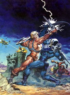 """80s-90s-stuff:  80s Masters of the Universe artwork by (the master) Earl Norem. Feat. He-Man, Skeletor, Man-At-Arms, Beast-Man and Teela… Cover art for """"The Sunbird Legacy"""""""