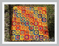 Colcha com Quadrados Diagonais Coloridos em crochet