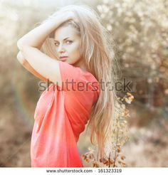 Sexy woman posing outdoors  - stock photo
