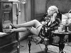 Films made in the Pre-Code era frequently presented people in sexually suggestive or provocative situations, and did not hesitate to display women in scanty attire. In this publicity photo, Dorothy Mackaill plays a secretary-turned-prostitute in Safe in Hell, a 1931 Warner Bros. film directed by William Wellman.