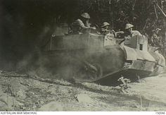 Darwin, NT. June 1942. An Australian Bren gun carrier emerges from jungle into a clearing during combined manoeuvres with other Australian units.