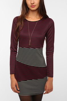 Lucca Couture Long-Sleeved Stripe Block Dress   #UrbanOutfitters