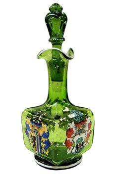 Antique Bohemian Heraldic Armorial Glass Perfume Scent Bottle
