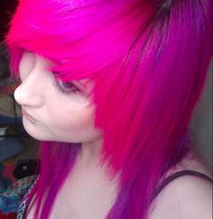 Bright pink emo hair